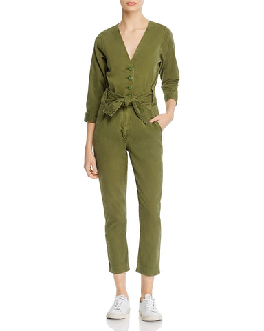 Sashan Belted Cropped Jumpsuit in Chive