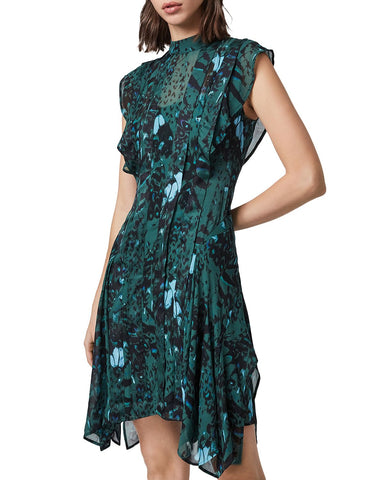 Fleur Wing Pleated Dress in Opal Green