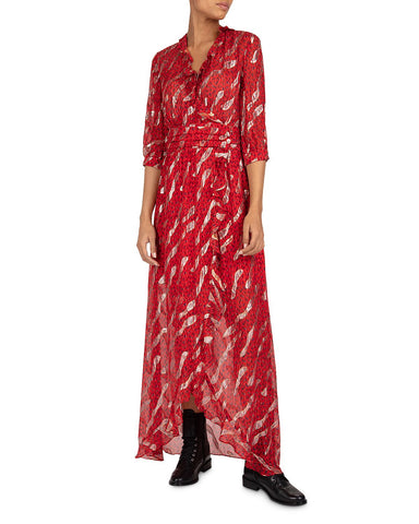 Hali Ruffled Metallic Maxi Dress in Rouge