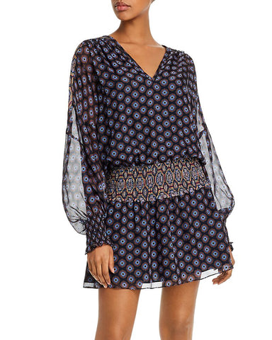 Davy Medallion Print Silk Dress in Navy Combo