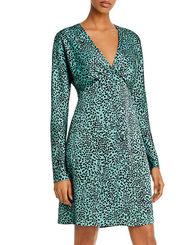 Rommily Animal Print Satin Dress in Green Animal