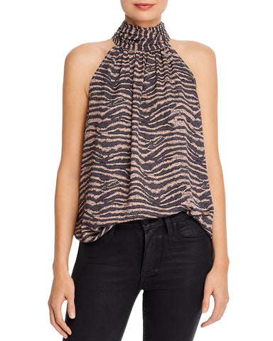 Erola Zebra Print Satin Halter Top in Ginger