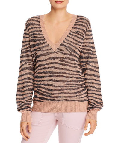 Inira Animal Print V-Neck Sweater in Ginger