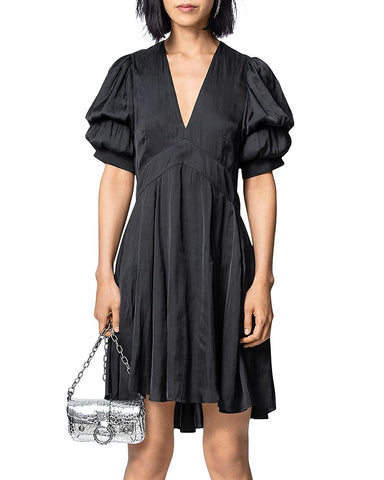 Royas Puff-Sleeve Satin Dress in Noir
