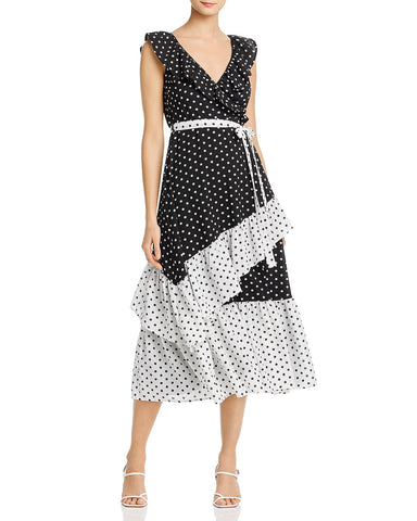 Color-Block Polka Dot Midi Dress in Black/White