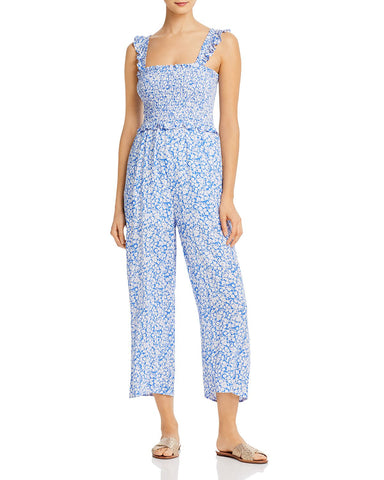 Pick Me Smocked Wide-Leg Jumpsuit in Blue/White