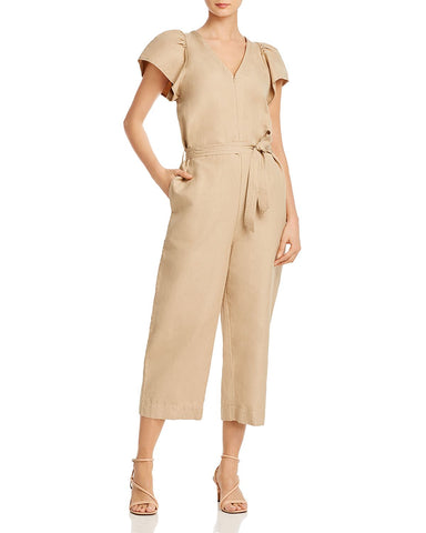 Zina Cropped Linen & Cotton Jumpsuit in Sand
