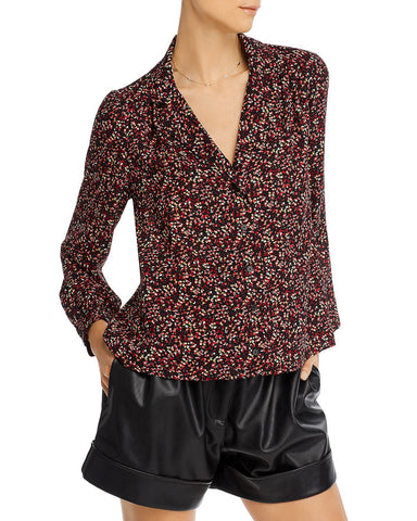 Printed Button Front Shirt in Black/Red Multi