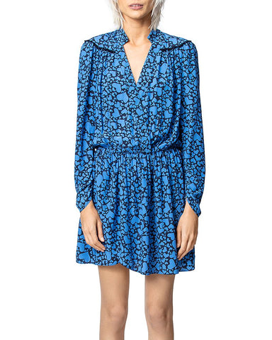 Heart-Print V-Neck Mini Dress in Blue