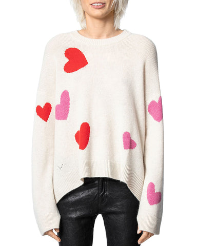 Cashmere Heart Motif Sweater in Chalk