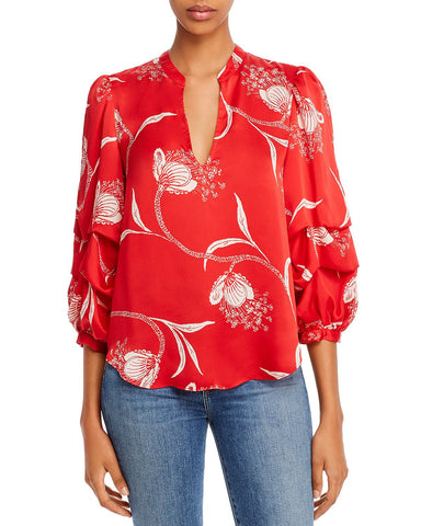 Samyra Printed Split-Neck Top in Cherry