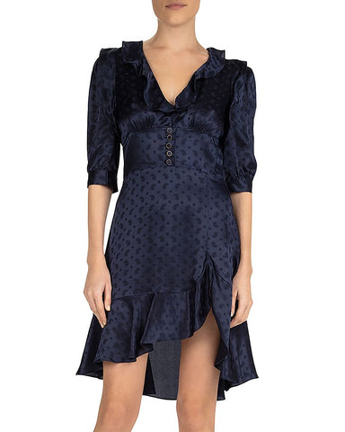 Delicate Paisley Ruffled Dress in Navy