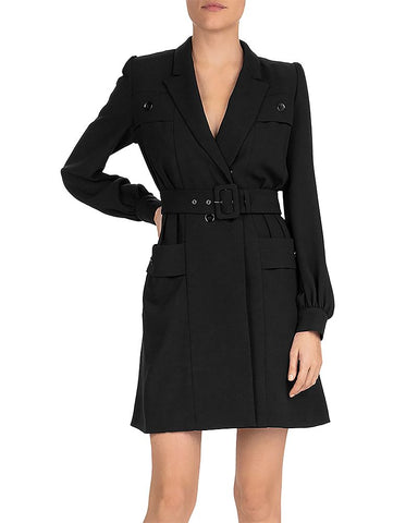 Marta Belted Button-Detail Mini Dress in Black