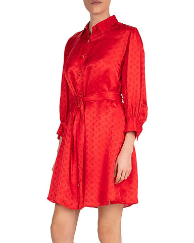 Delicate Paisley Shirtdress in Red