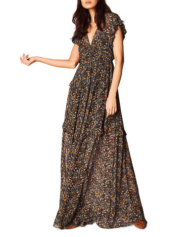 Samanta Botanical Maxi Dress in Carbone