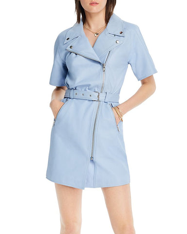 Margeaux Asymmetric Leather Dress in Powder Blue