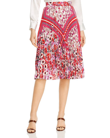 Delilah Pleated Floral-Print Skirt in Multi