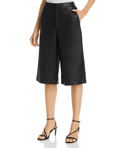 Faux-Leather Culotte Shorts in Black