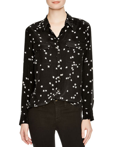 Slim Signature Silk Shirt in Black