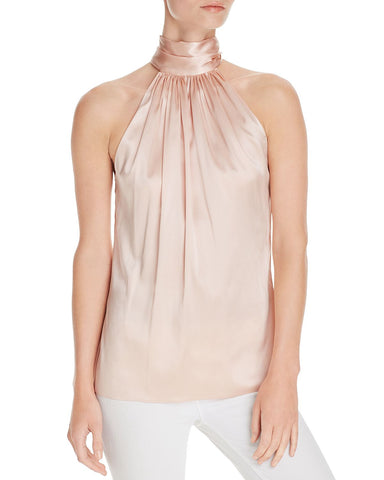 Lori Back-Tie Silk Top in Blush