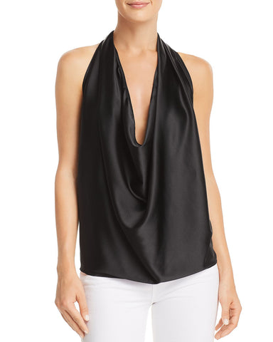Harriet Convertible Satin Top in Black