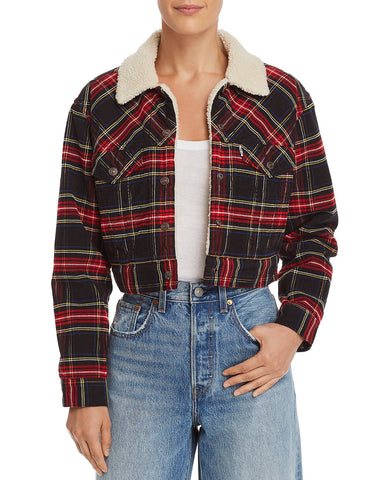 Plaid Cropped Jacket in Plaid Cord Caviar Tulaby