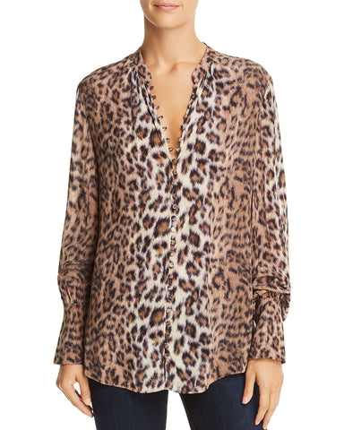 Tariana Leopard-Print Shirt in Light Taupe