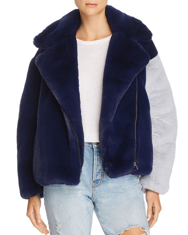Color-Block Faux-Fur Moto Jacket in Navy