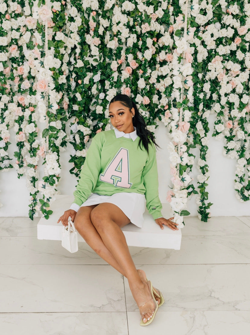 Apple Green Alpha Letter Sweater ( Ships on 4/27)