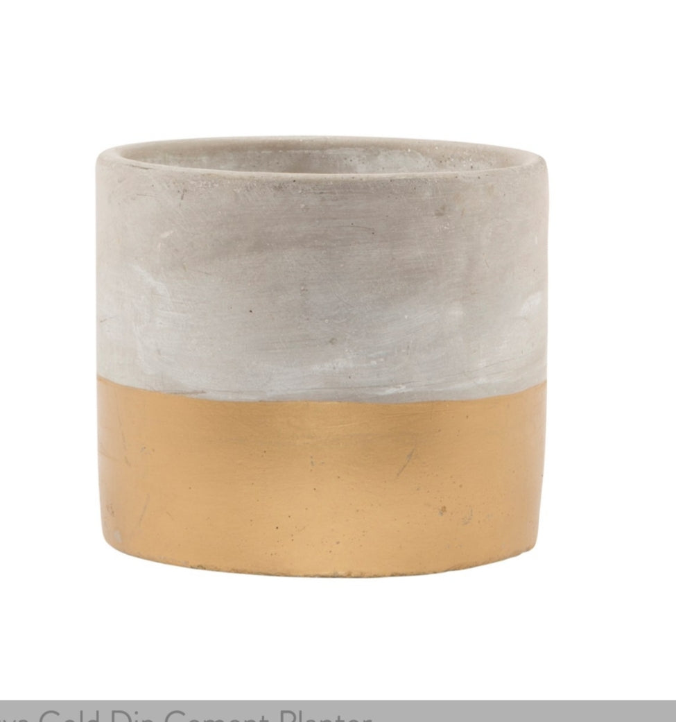 Sass & Belle Tuva Gold Dipped Cement Plant Pot