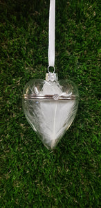 In Loving Memory Feather Christmas Bauble