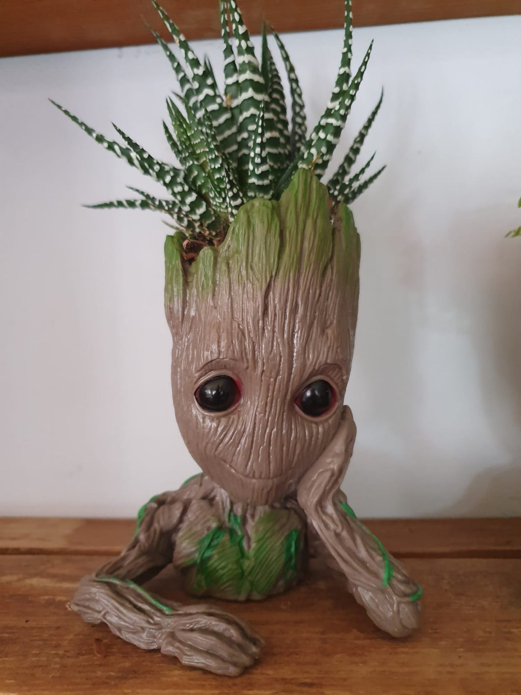 Baby Groot Plant Pot Resting Hand - with Zebra Aloe