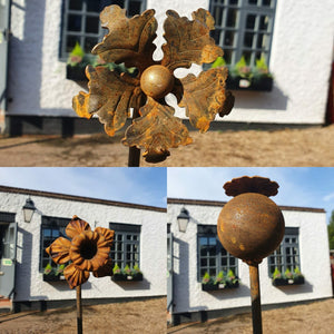 Rustic metal flower garden sculpture