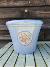 Load image into Gallery viewer, Glazed outdoor pot tree design - Blue