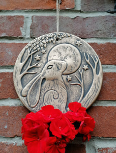 Moon and Hare terracotta bronze plaque