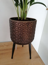 Load image into Gallery viewer, Gisela Graham Dark Gold Daisy indoor plant pot with legs - 29cm
