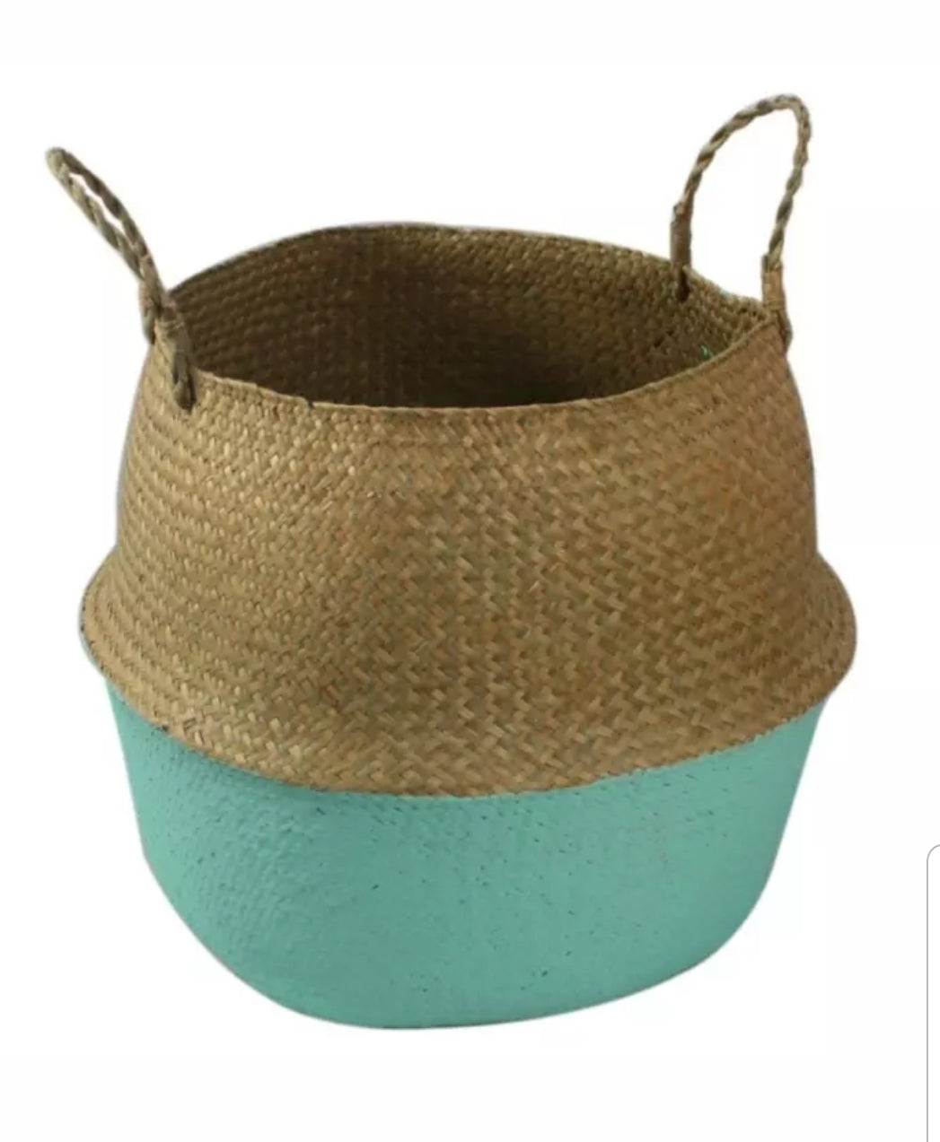 Medium Seagrass Belly basket - Green