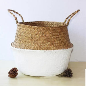 Large Seagrass Belly Basket - White