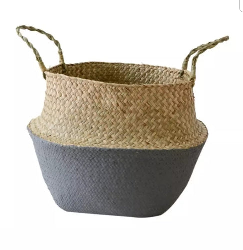 Medium Seagrass Belly Basket - Grey