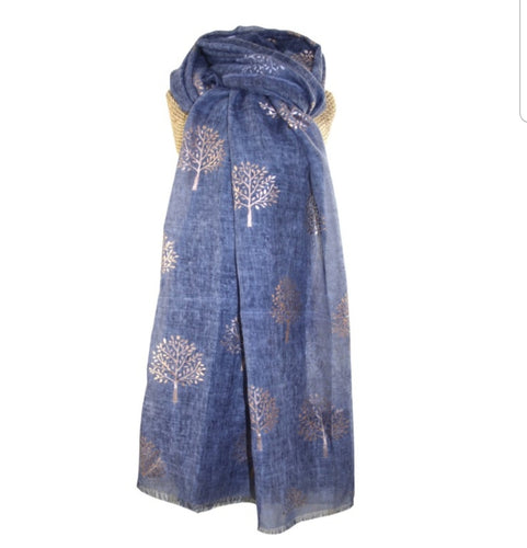 Rose Gold Mulberry Foil Trees Scarf - Blue