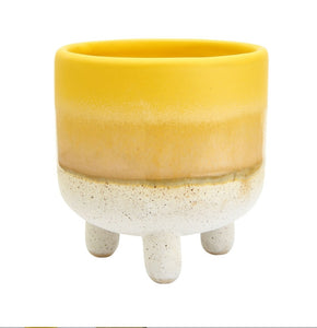 Sass and Belle Mojave glaze yellow mini planter/plant pot