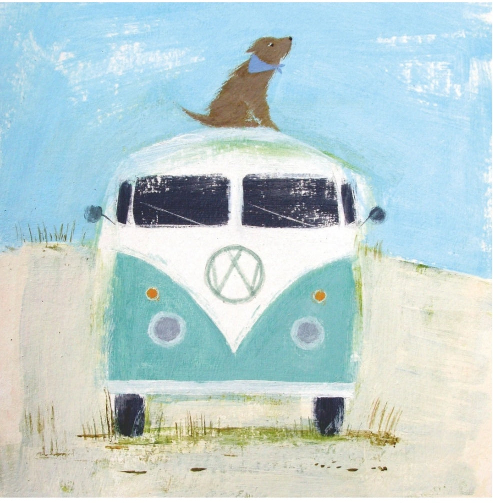 Dog and campervan card
