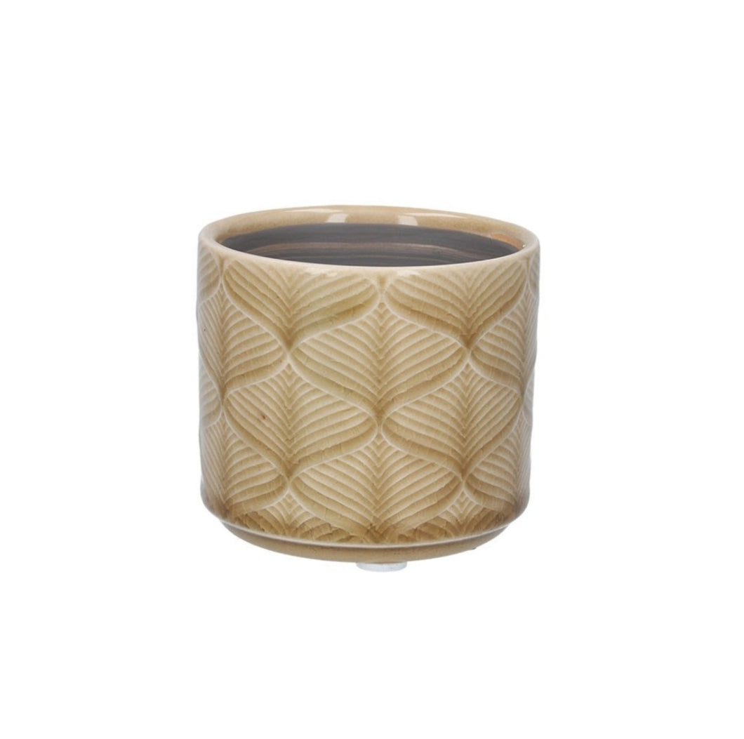Gisela Graham Mustard Wavy ceramic mini indoor plant pot