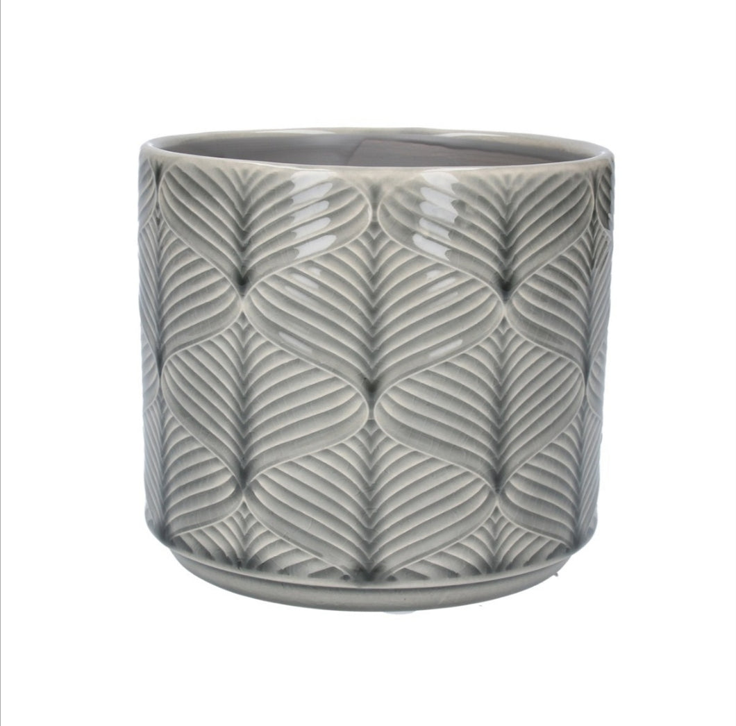 Gisela Graham Grey Wavy plant pot - Small