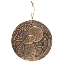 Load image into Gallery viewer, Moon and Hare terracotta bronze plaque