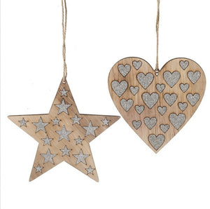 Wooden Silver glitter hearts and star decoration