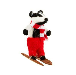 Sass and Belle Skiing Badger hanging decoration