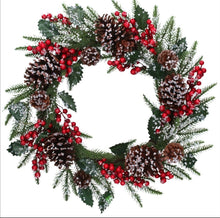 Load image into Gallery viewer, Gisela Graham Red Berry Cone/Fir wreath with frosting