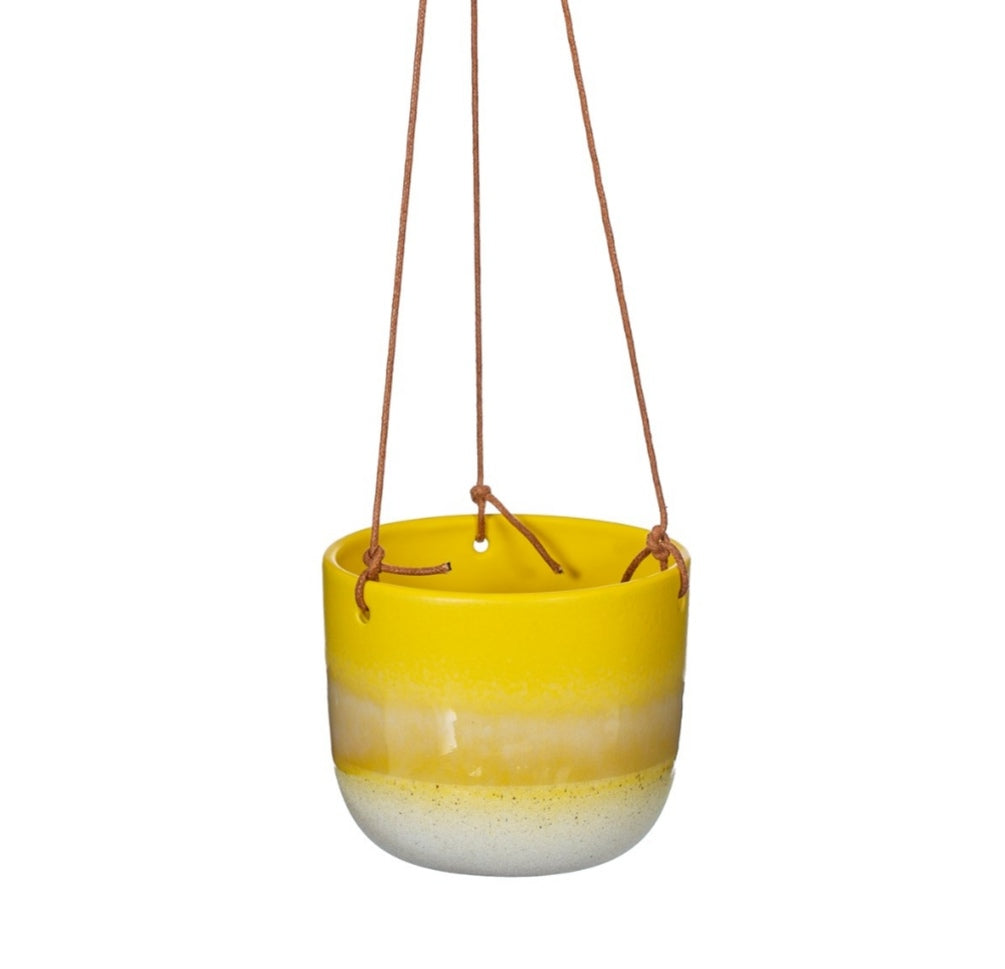 Sass and Belle Mojave yellow hanging planter/indoor plant pot