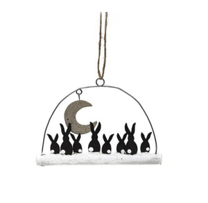 Shoeless Joe Moon Gazing Rabbits hanging decoration